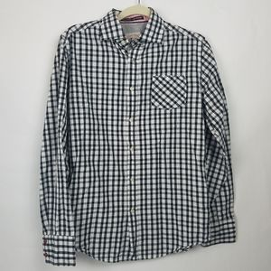 Jachs plaid men's button up cotton shirt small